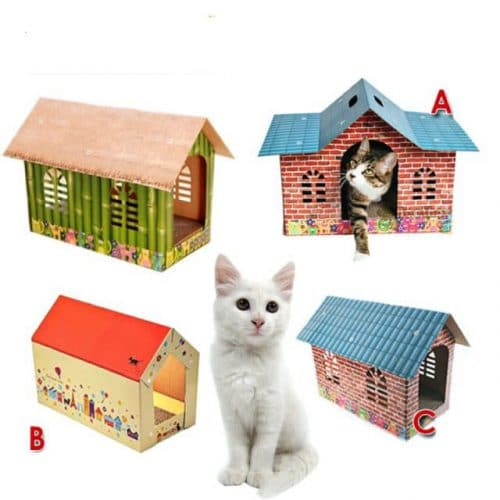 Carton box houses for cats