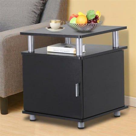 Yaheetech Black End Tables Bedroom Nightstands Bedside Cabinet with Storage Cupboard & Shelf One Door