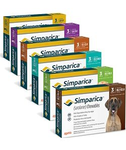 Simparcia chewables for dogs to prevent ticks.